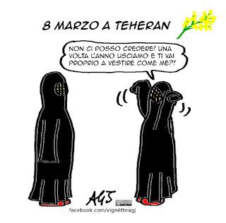 8 marzo, festa della donna, burqua, diritti delle donne, vignetta, satira