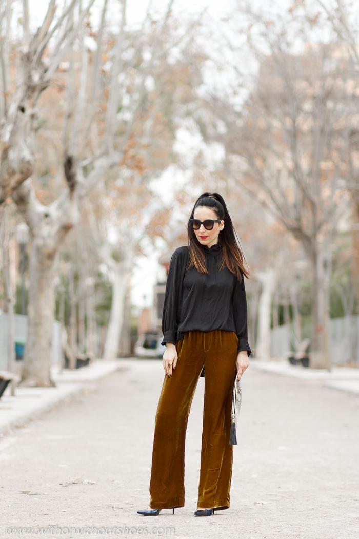 Blog influencer de moda valenciana outfit noche reyes pantalones anchos terciopelo blusa romantica y zapatos de tacon Magrit gafas de sol Celine