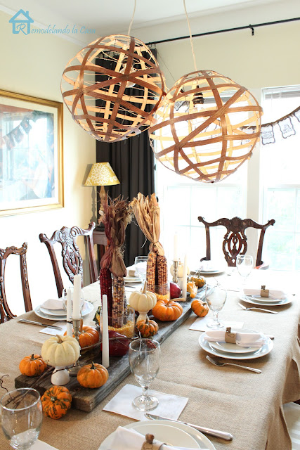 how to set a rustic table for thanksgiving with pumpkins, burlap, acorns