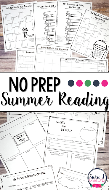 BONUS: Summer Reading is now included in all summer reviews. Great way to keep track of goals and reading over the summer along with comprehension activities that work with any book. Make summer reading a breeze with this no prep addition.