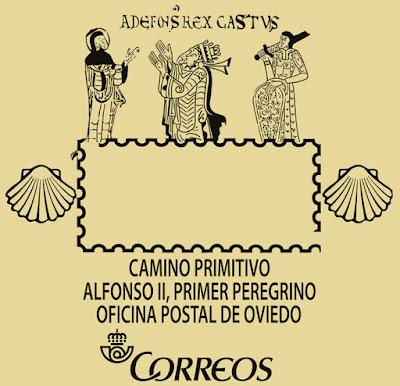 Matasellos turístico del Camino Primitivo y Alfonso II en Oviedo
