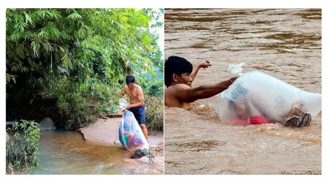 Bantu Anak-anak Menyeberangi Sungai Ini Bikin Terenyuh