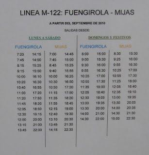 Bus timetable from Fuengirola to Mijas Pueblo