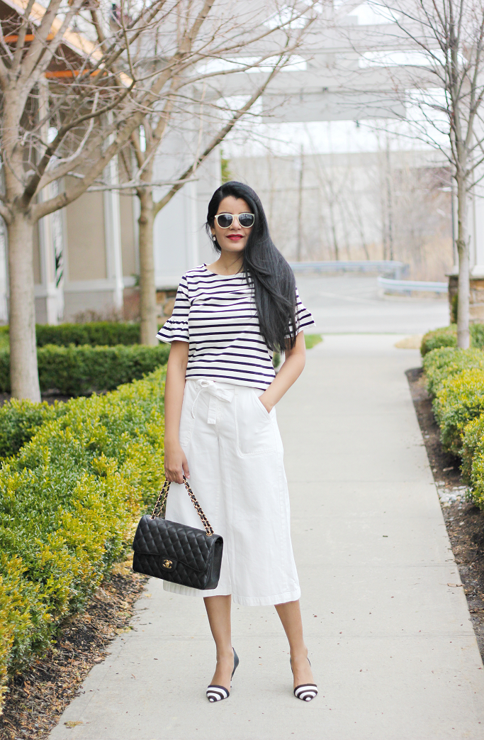 J.Crew Striped Ruffle Sleeve Tee, Chanel Jumbo, J.Crew Factory Striped Ruffle Sleeve Tee, Gap Wide Leg Cropped Denim, White Denim Culottes