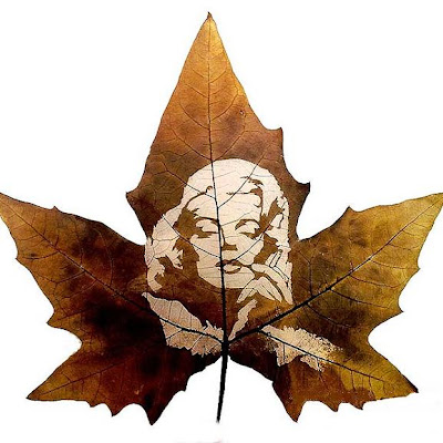 Arte en hoja de maple, retrato de  marilyn monroe