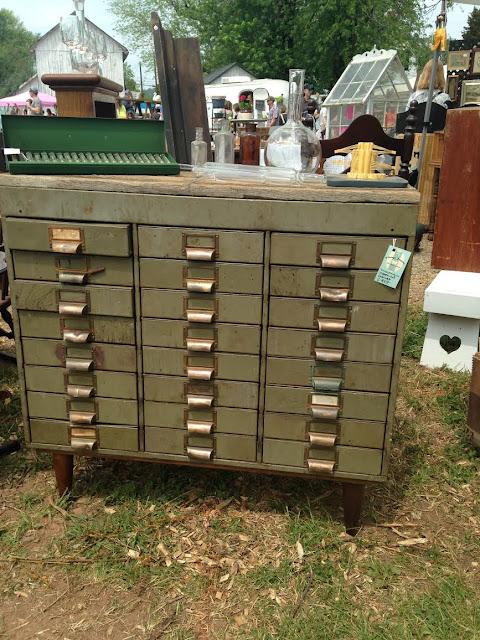 Vintage green metal hardware cabinet