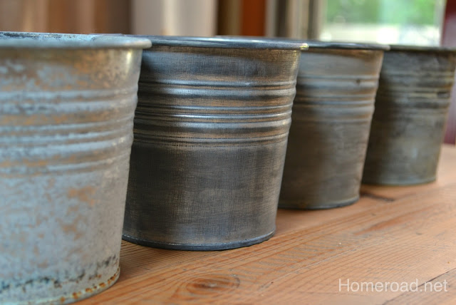 Shiny  buckets with an antiqued look