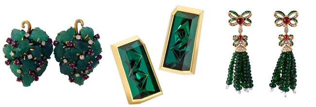 Luxury earrings with emeralds