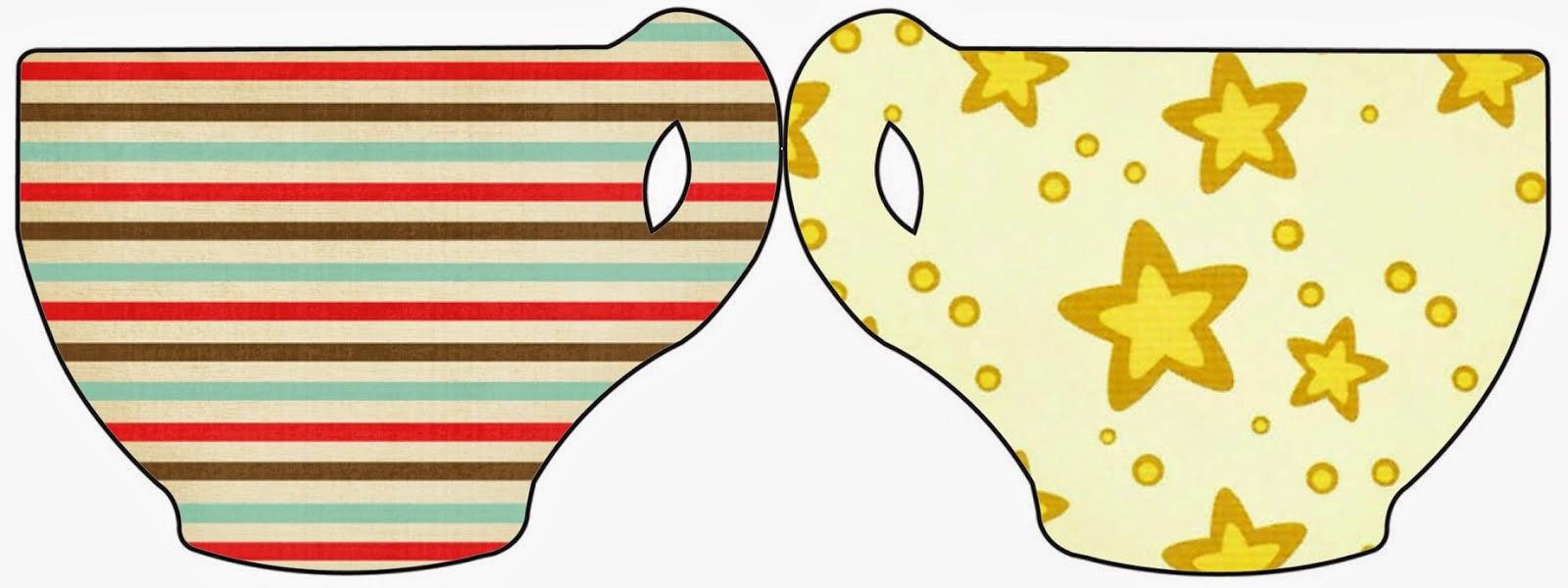 Tarjeta con forma de Taza de Estrellas Doradas y Rayas de Colores.