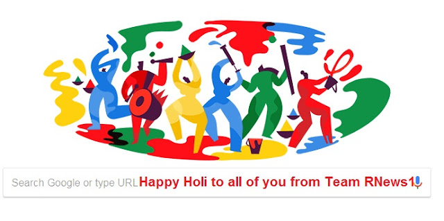 Google, Holi, Happy Holi 2018, Happy Holi GIF, RNews1 Network, Holi Wishes, Google Holi Doodle