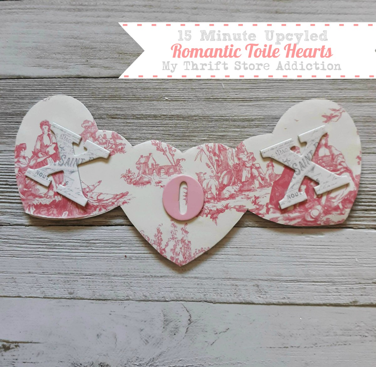 upcycled romantic toile hearts