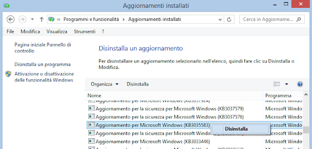 Disinstallare aggiornamento Windows Update