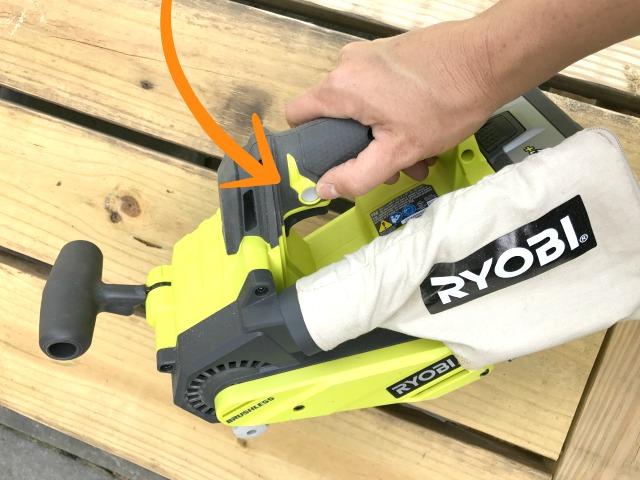 ryobi cordless belt sander lock-on switch