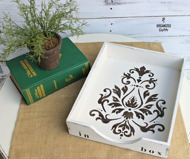 Thrifted Wooden Desk Tray Upcycle #upcycle #stencil #damask #thriftshopmakeover #stencil