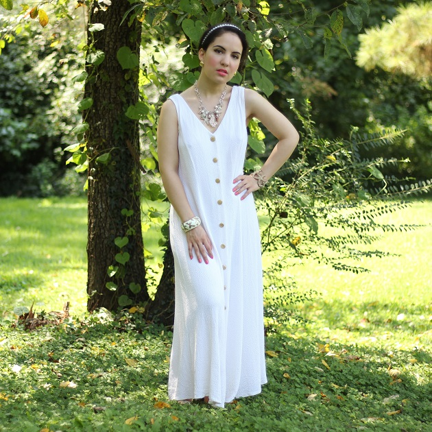 White Maxi Dress with Gold Buttons