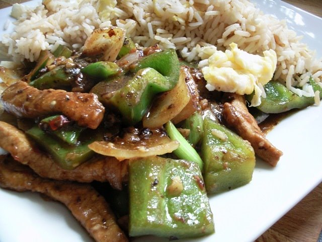 Pork in Black Bean Sauce with Green Peppers