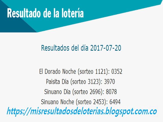 Como jugo la lotería anoche - Resultados diarios de la lotería y el chance - resultados del dia 20-07-2017