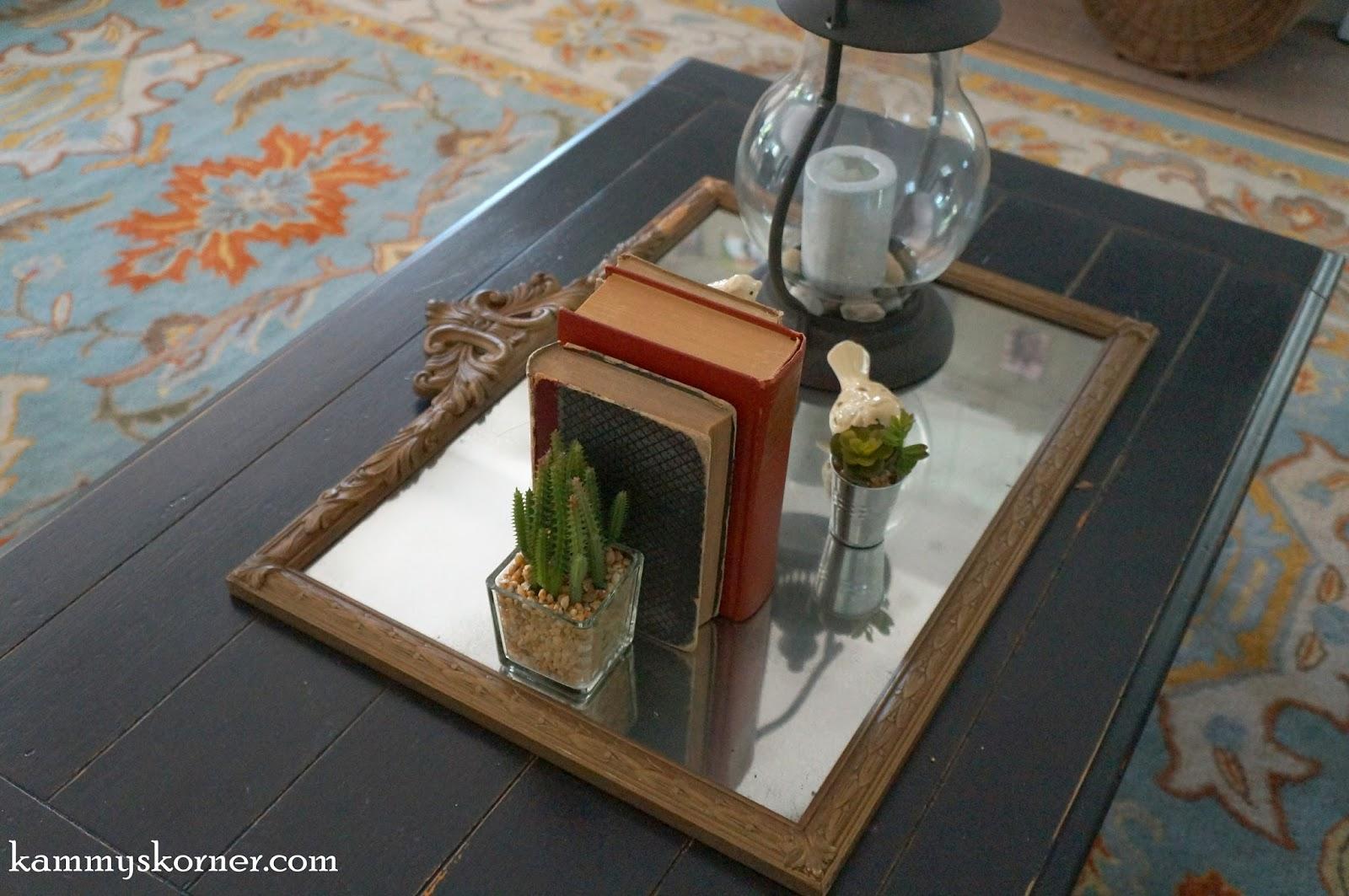 Kammy 39 S Korner Coffee Table Redo Antique Mirror Tray Vignette