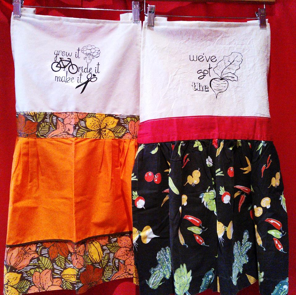 Reworked Vintage Aprons Silk Screened with My Many Designs