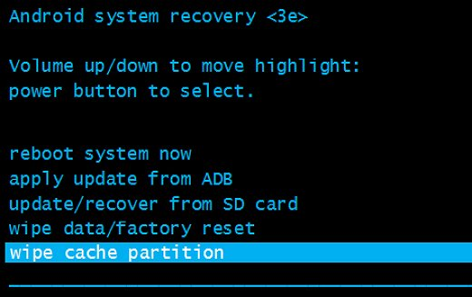Wipe Cache Partition Recovery