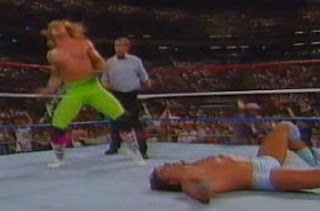 WWF / WWE Summerslam 1989 - Shawn Michaels celebrates after flooring Rick Martel