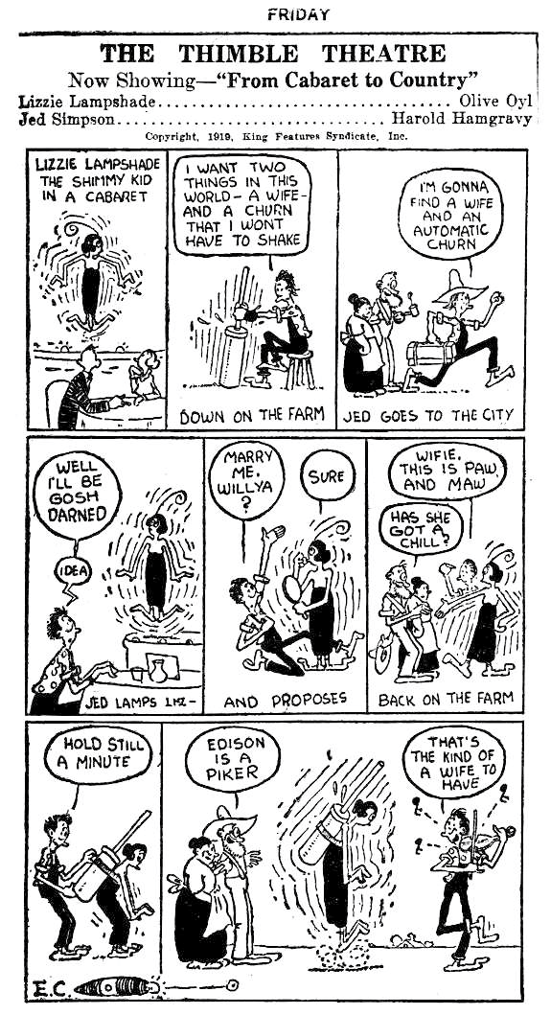 The Thimble Theatre, first daily strip