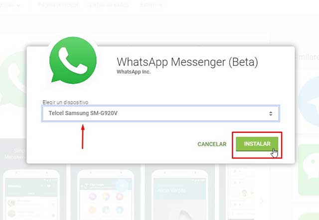 descargar e instalar WhatsApp Messenger (Beta)