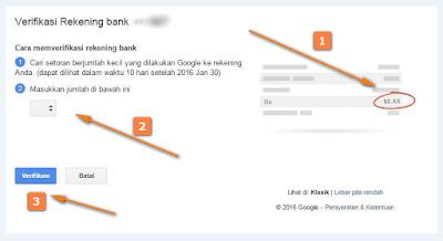 Verifikasi Pembayaran Adsense Via Bank