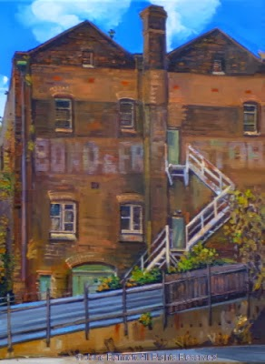 plein air oil painting of derelict Bond store in Pyrmont  by industrial heritage artist Jane Bennett