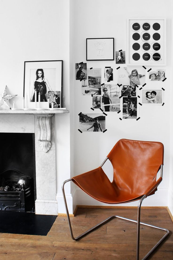 black and white photos pop on the white wall