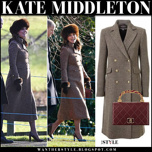 Kate Middleton in brown tweed long coat moloh turpin and fur hat at Sandringham january 7 winter fashion