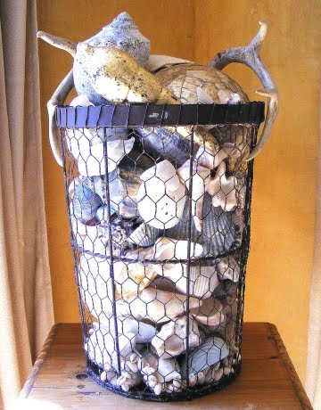 seashells in wire basket