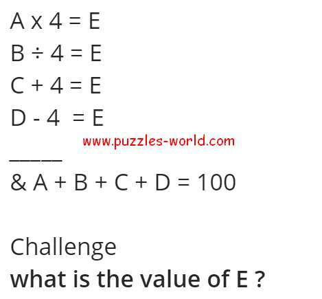 What is the Value of E ?
