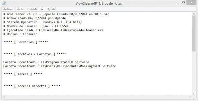 AdwCleaner pantalla del log