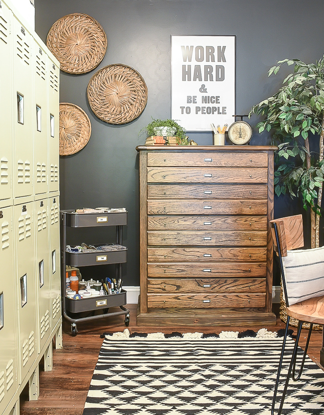 High contrast industrial farmhouse office
