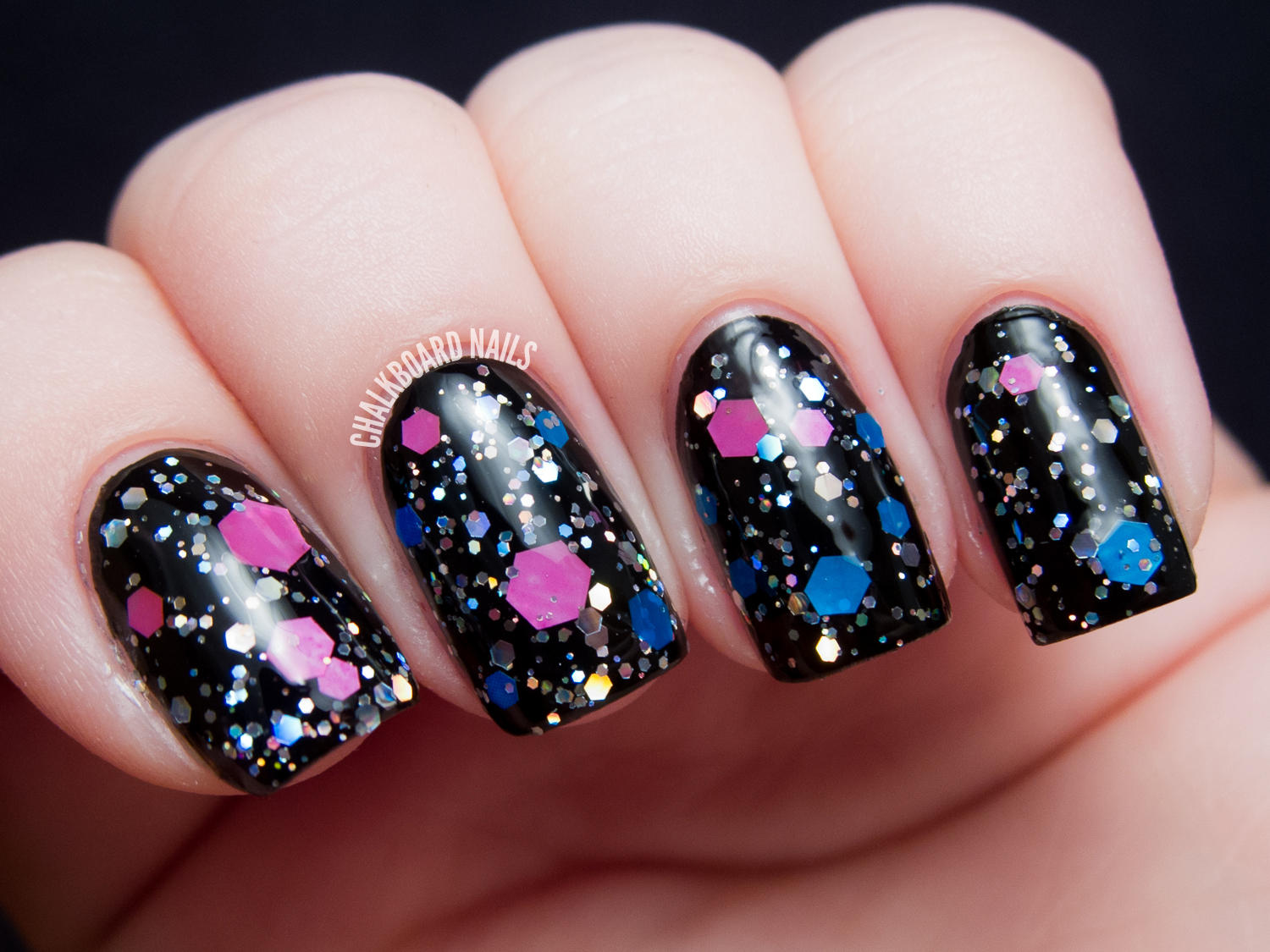 Chalkboard Nails: Starrily Space Candy