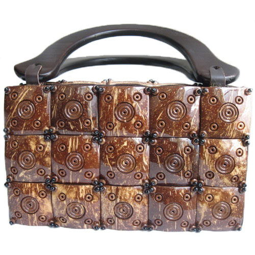 Tinuku Handbag carved coconut shell crafts strong impression natural and exotic fashion design