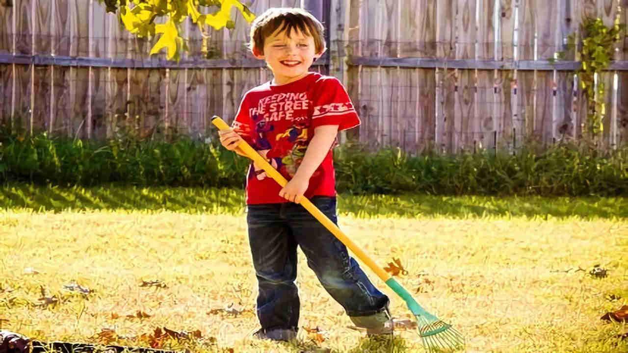 Anak cowok menyapu, membantu orang tua