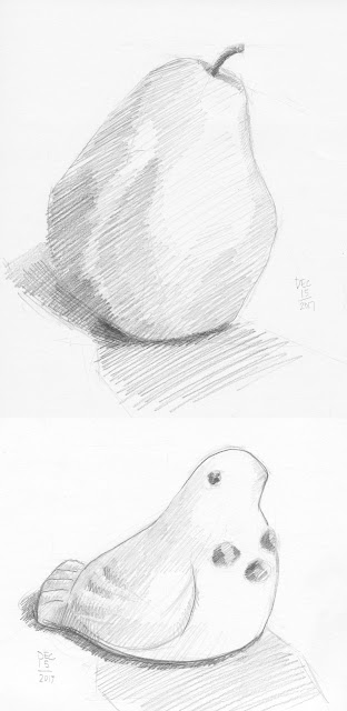 Daily Art 12-15-17 still life sketch in graphite number 71-72 - pear and bird sculpture