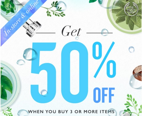 The Body Shop 50% Off When You Buy 3 or More