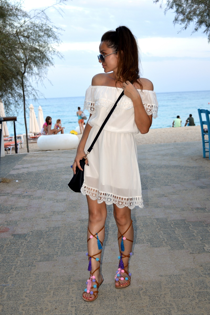 white dress and pom pom sandals vacation outfit ootd