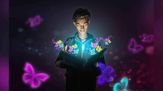 Neon light effect, magical book photo editing, magical manipulation, neon light magical book editing, photoshop ideas, best photo editing,