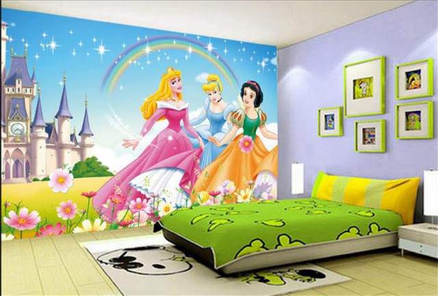 Disney wall mural princess rainbow castle photo wallpaper kids room cartoon girls room
