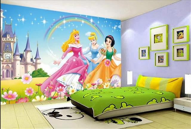 Disney wall mural princess rainbow castle photo wallpaper kids room cartoon girls room