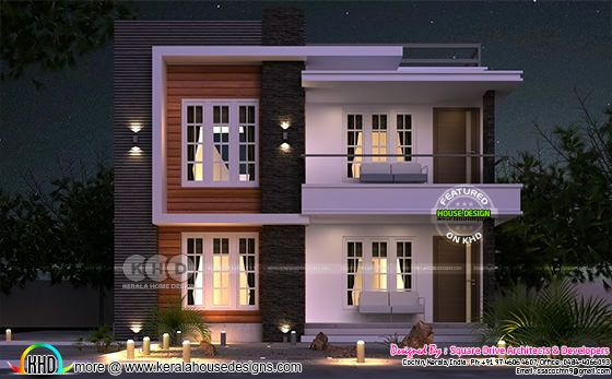 Night view modern house with show wall