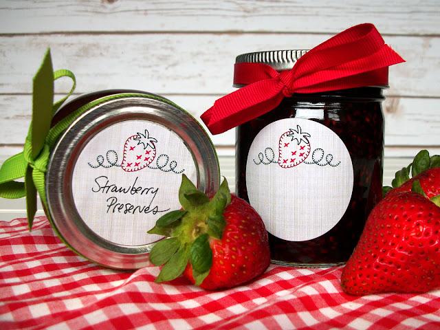 strawberry jam jelly preserves canning jar labels