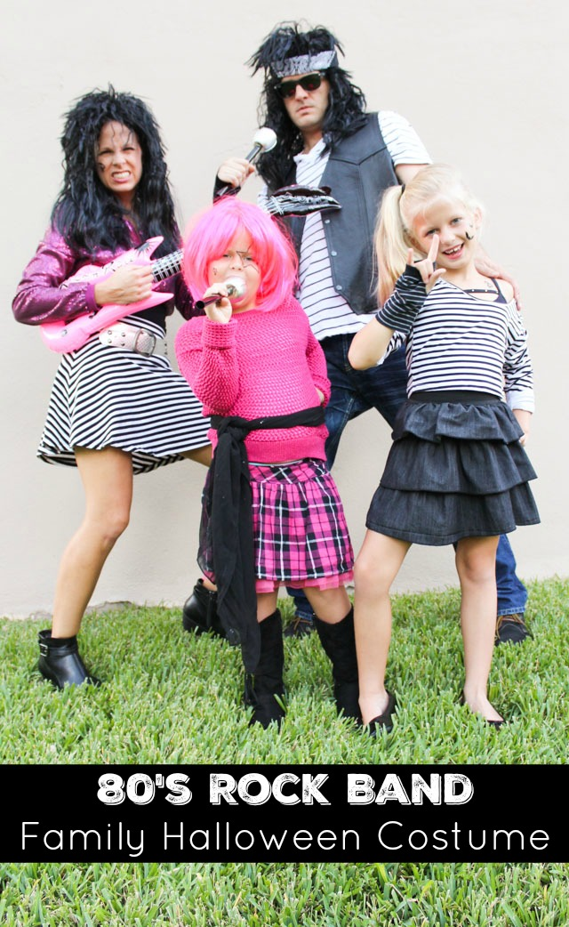 Create an awesome 80s rock band costume for your family with items from the Goodwill!