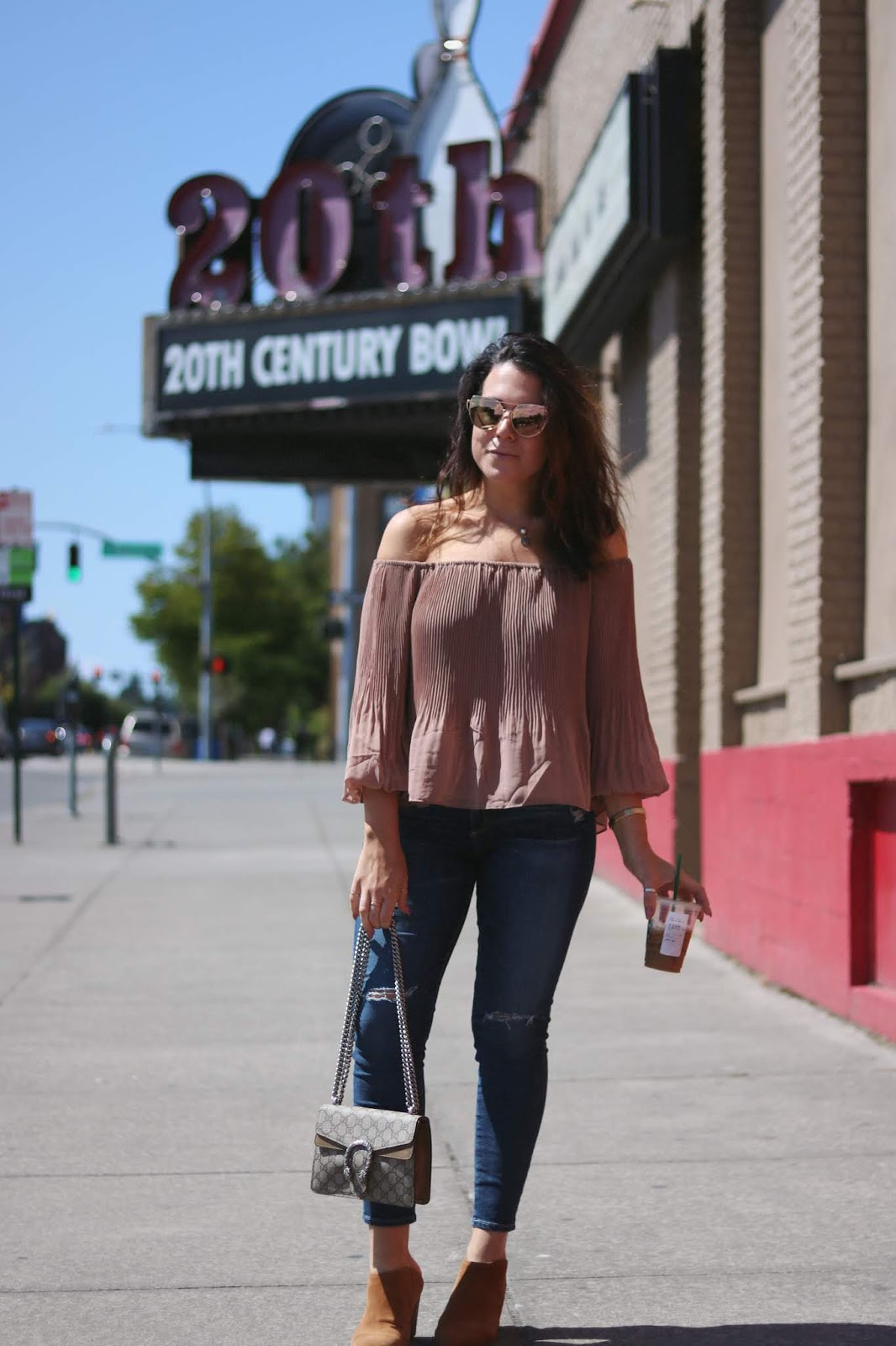 date night outfit Dynamite off the shoulder top outfit ag jeans vancouver fashion blogger gucci mini gg supreme dionysus handbag aleesha harris
