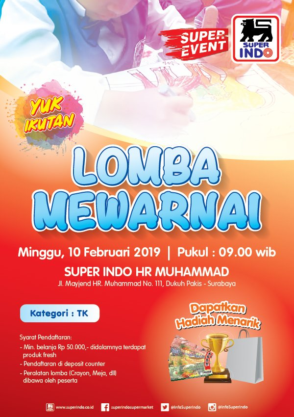 #Superindo - #Promo Event Lomba Mewarnai di HR Muhammad Surabaya (10 Feb 2019)
