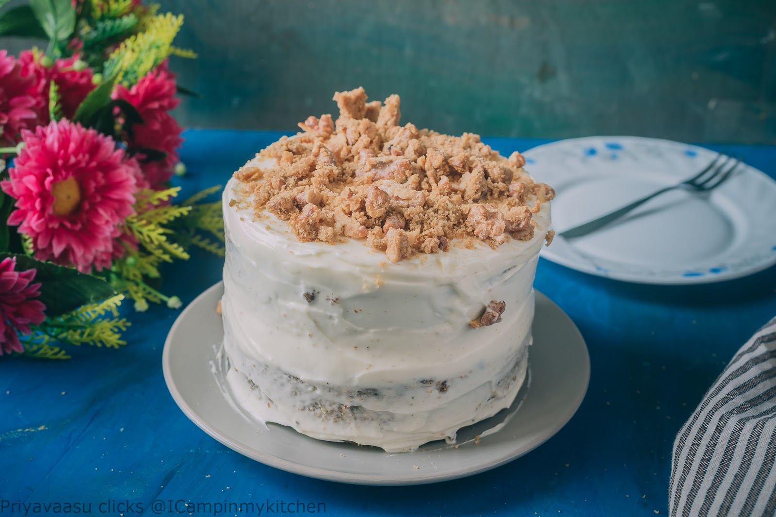 Eggless Wholewheat Ginger Carrot Cake With Ginger Cream Cheese